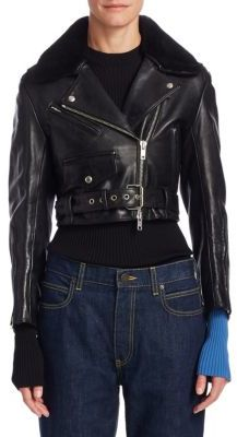 CALVIN KLEIN 205W39NYC Cropped Leather Jacket