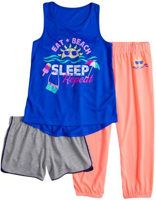 So Girls 4-14 & Plus Size SO Tank Top, Shorts & Jogger Pants Pajama Set