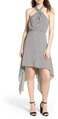 Bishop + Young BISHOP AND YOUNG Ana Stripe Shark Bite Hem Halter Dress