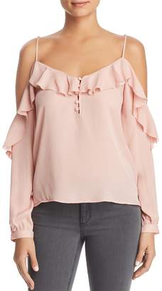 Paige Arabeth Cold-Shoulder Silk Blouse