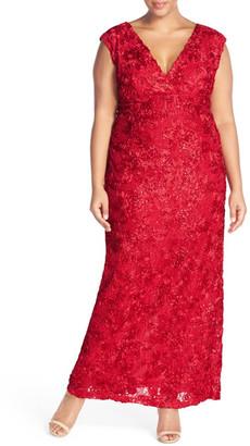 Marina V-Neck Sequin Lace Empire Gown (Plus Size) $209 thestylecure.com
