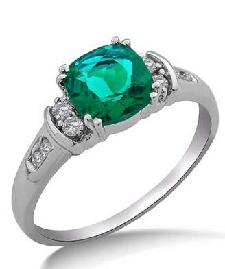 N. Miore 9ct White Gold Created Emerald and Diamond Ring SA9018R - Size