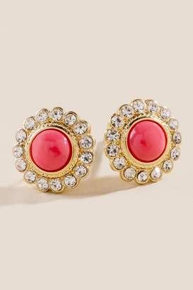 francesca's Ramona Coral Studs with Pave Trim - Coral