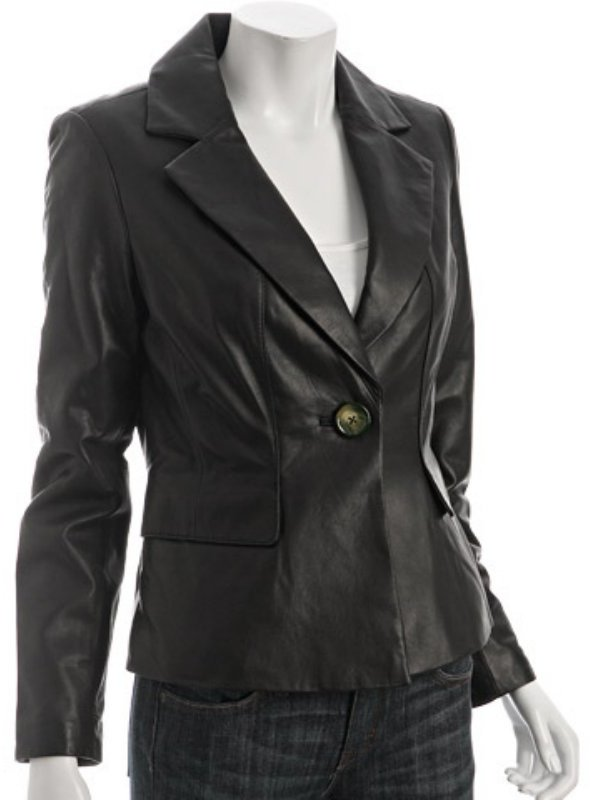 KORS Michael Kors black leather single button blazer