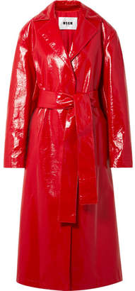 MSGM Faux Glossed-leather Trench Coat - Crimson