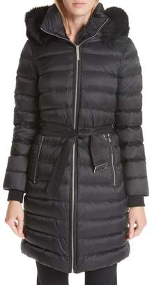 Burberry Limefield Genuine Shearling Hood Puffer Coat
