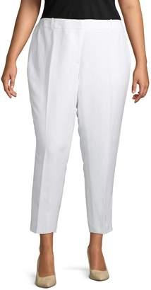 Calvin Klein Collection Plus Flat-Front Linen-Blend Cropped Pants