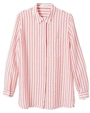 MANGO Striped textured shirt