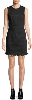 Alexander Wang Frayed Twill Sleeveless Mini Dress