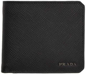 787d8dafba7b Prada Black Saffiano Corner Logo Wallet