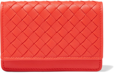 Bottega Veneta Intrecciato Leather Cardholder - Red