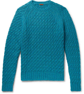 Barena Slim-Fit Cable-Knit Sweater - Petrol