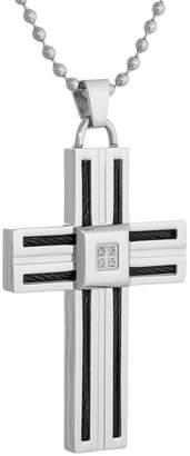 Lynx Stainless Steel Diamond Accent Men's Cross Pendant
