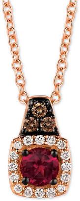 "LeVian Le Vian Rhodolite (1/5 ct. t.w.) & Diamond (1/10 ct. t.w.) 18"" Pendant Necklace in 14k Rose Gold"