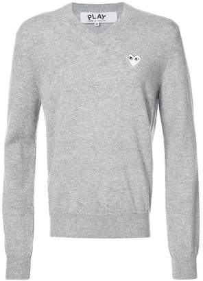 Comme des Garcons v-neck pullover with white heart