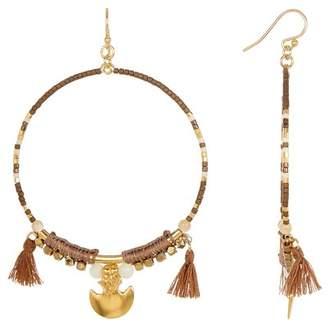 Chan Luu Beaded Tassel Hoop Earrings