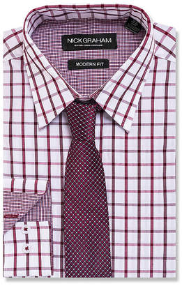 GRAHAM AND CO Graham And Co Long Sleeve Woven Windowpane Dress Shirt - Fitted