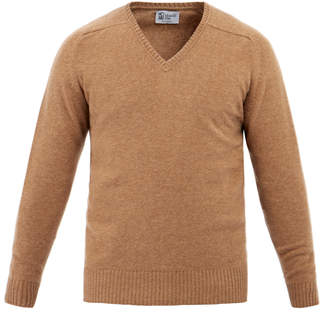 Johnstons of Elgin V-Neck Caramel Merino Cashmere Sweater
