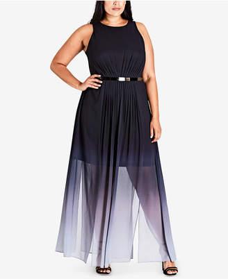 City Chic Trendy Plus Size Ombre Maxi Dress