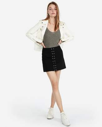 Express Lace Up Front Mini Skirt
