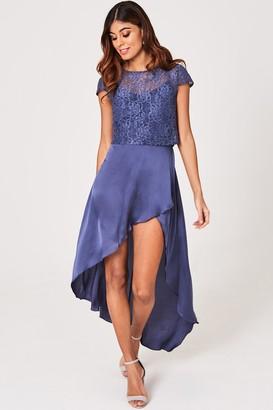 Little Mistress Anais Lavender Gray Satin And Lace Maxi Dress