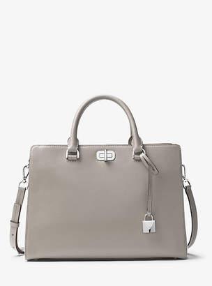 Michael Kors Sylvie Large Leather Satchel $328 thestylecure.com