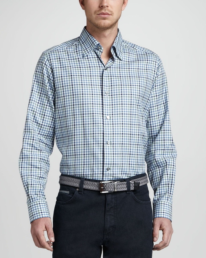 Ermenegildo Zegna Long-Sleeve Plaid Sport Shirt, Navy/Blue/Sage