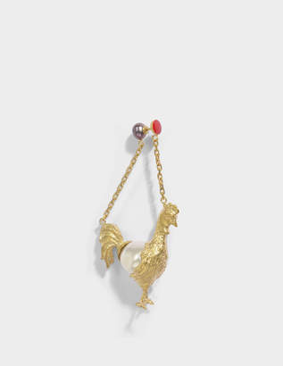 Carven Rooster Mono Earring in Ivory Brass