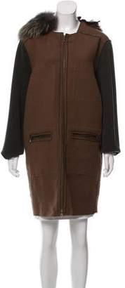 Lanvin Wool & Linen-Blend Fur-Trimmed Coat