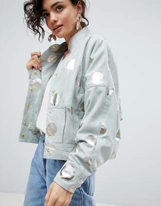 Selected Suede Jacket With Metallic Print
