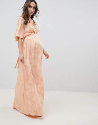 Asos DESIGN Maternity Soft Jacquard Maxi Dress With Flutter Sleeve