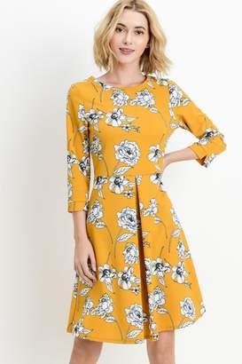 Les Amis Gorgeous Mustard-Floral Dress
