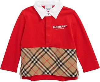Burberry Quentin Mixed Media Polo