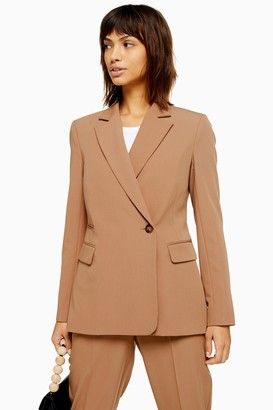 Topshop Camel Suit Double Breasted Blazer
