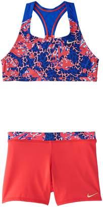 Nike Swim Girl's Hyper Web 2-Piece Racerback Sport Bikini Top Shorts Set
