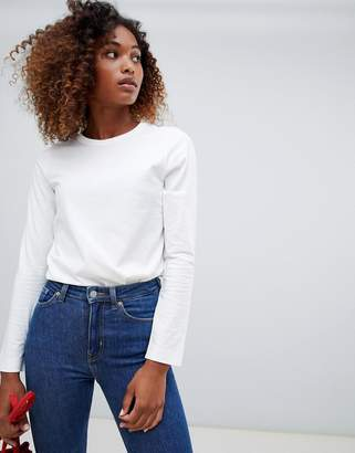 Weekday plain long sleeve t-shirt in white