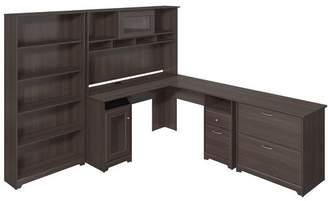 Red Barrel Studio Hillsdale L-Shape Desk with Hutch Lateral File and 5 Shelf Bookcase