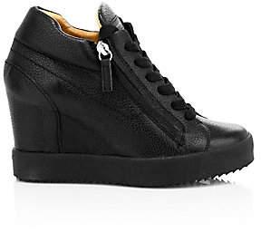 Giuseppe Zanotti Women's Double Zip Leather Platform Wedge Sneakers