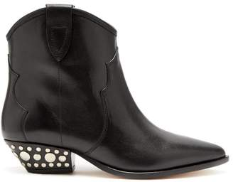 Isabel Marant Dawyna Western Leather Ankle Boot - Womens - Black