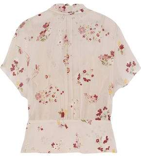 RED Valentino Tie-back Floral-print Silk-blend Chiffon Blouse
