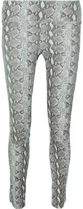 Sprwmn Snake-print Leather Leggings - Gray