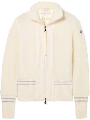 Moncler Wool-blend Bouclé And Quilted Shell Down Cardigan - Cream