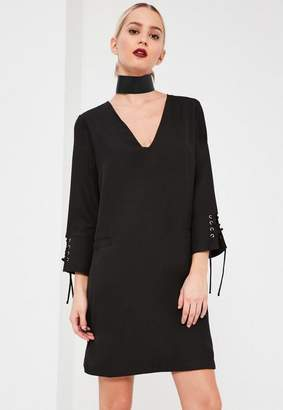Missguided Lace Up Fitted Crepe Dress Black