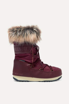 Moon Boot Monaco Faux Fur-trimmed Shell And Faux Leather Snow Boots - Burgundy