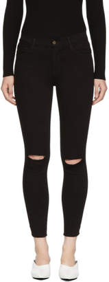 Frame Black Le High Skinny Crop Rips Jeans