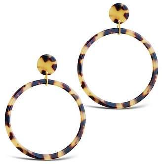 Sterling Forever 14K Yellow Gold Plated Honey Tortoise Hoop Drop Earrings