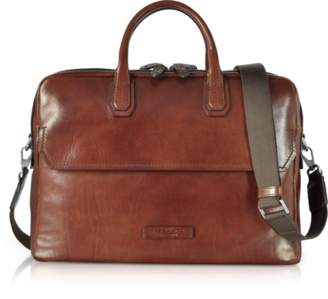 The Bridge Williamsburg Brown Leather Large Briefcase w/Shoulder Strap