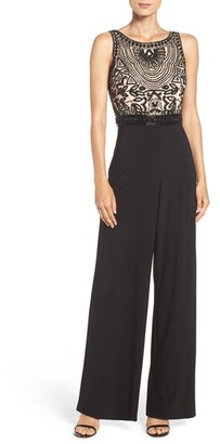 Women's Adrianna Papell Embellished Mesh & Jersey Jumpsuit $279 thestylecure.com