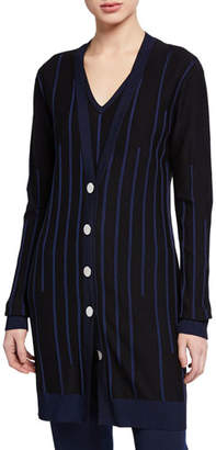 St. John Plaited Engineered Rib Knit Button-Front Cardigan