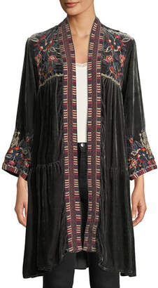 Johnny Was Bracelet-Sleeve Velvet Duster w/ Embroidery, Plus Size